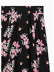 Black Floral Crinkle Gauze Wide Leg Pant, FLORAL, alternate
