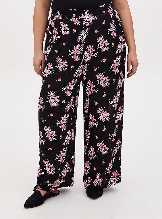 Black Floral Crinkle Gauze Wide Leg Pant, , hi-res