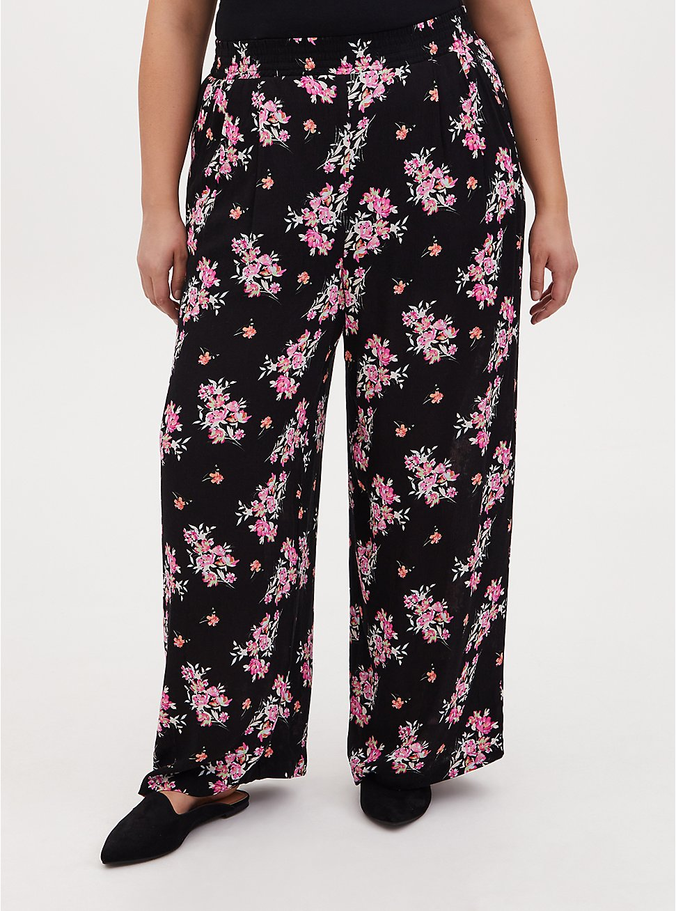 Black Floral Crinkle Gauze Wide Leg Pant, FLORAL, hi-res