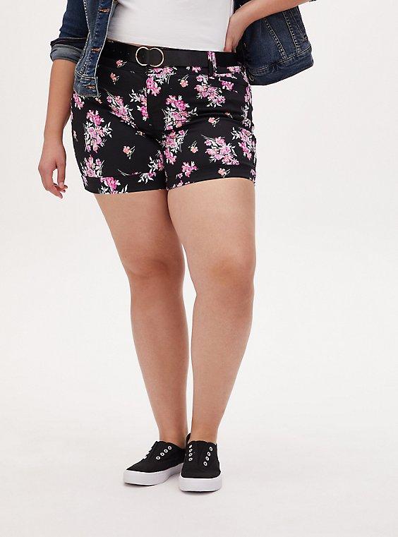 Belted Mid Short - Sateen Floral Black, FLORAL, hi-res