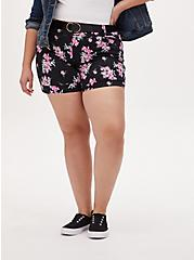 Belted Mid Short - Sateen Floral Black, FLORAL, hi-res