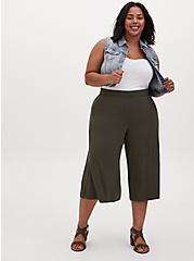 Plus Size Super Soft Olive Green Culotte Pant, DEEP DEPTHS, alternate