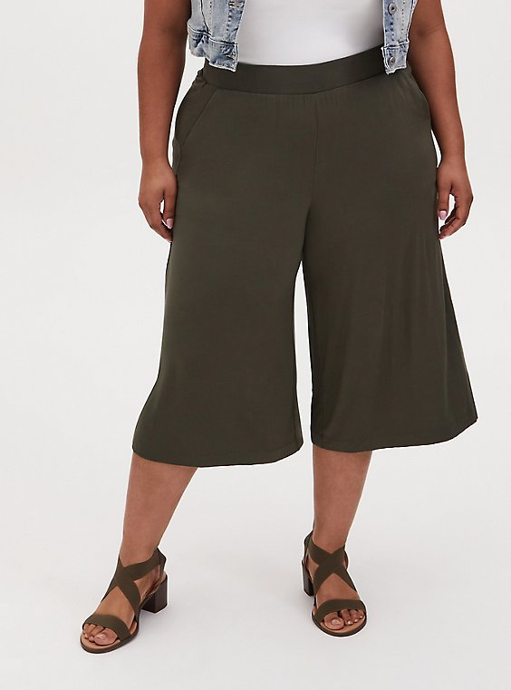 Super Soft Olive Green Culotte Pant, , hi-res