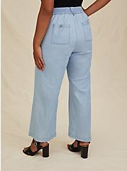 Light Blue Chambray Drawstring Wide Leg Pant, CHAMBRAY, alternate