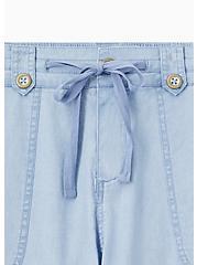Light Blue Chambray Drawstring Wide Leg Pant, CHAMBRAY, alternate
