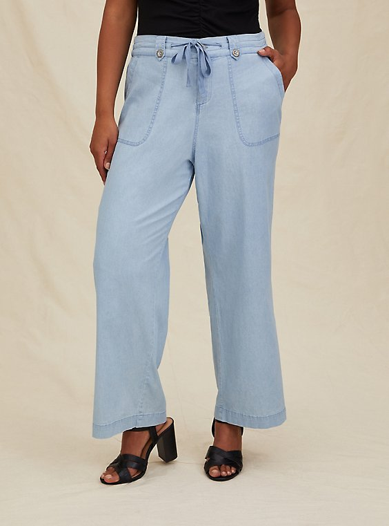 Light Blue Chambray Drawstring Wide Leg Pant, , hi-res
