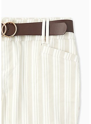 Belted Mid Short - Sateen Stripe Beige, STRIPES, alternate