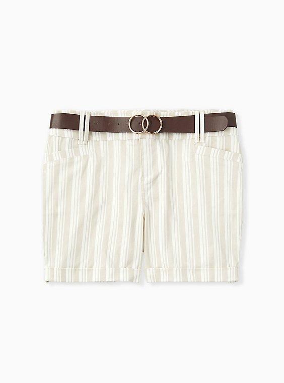 Plus Size Belted Mid Short - Sateen Stripe Beige, , hi-res
