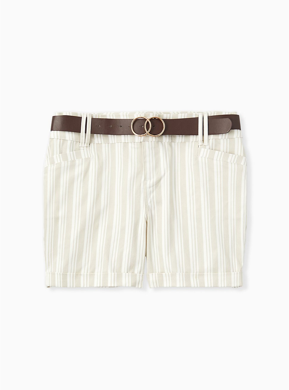 Belted Mid Short - Sateen Stripe Beige, STRIPES, hi-res