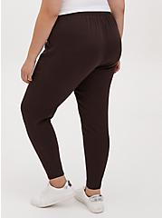Chocolate Brown Twill Drawstring Tapered Pant , JAVA, alternate