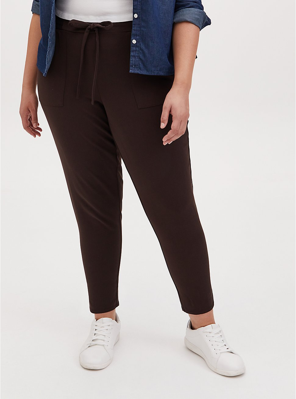 Chocolate Brown Twill Drawstring Tapered Pant , JAVA, hi-res