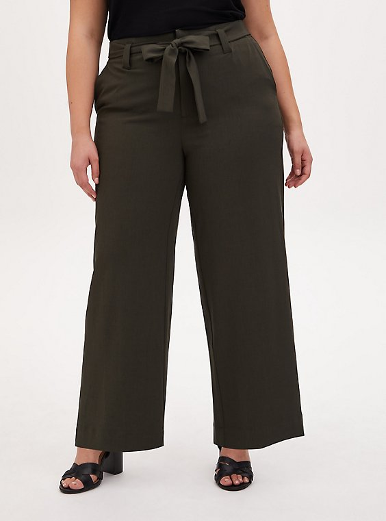 Forest Green Crosshatch Self Tie Wide Leg Pant , , hi-res