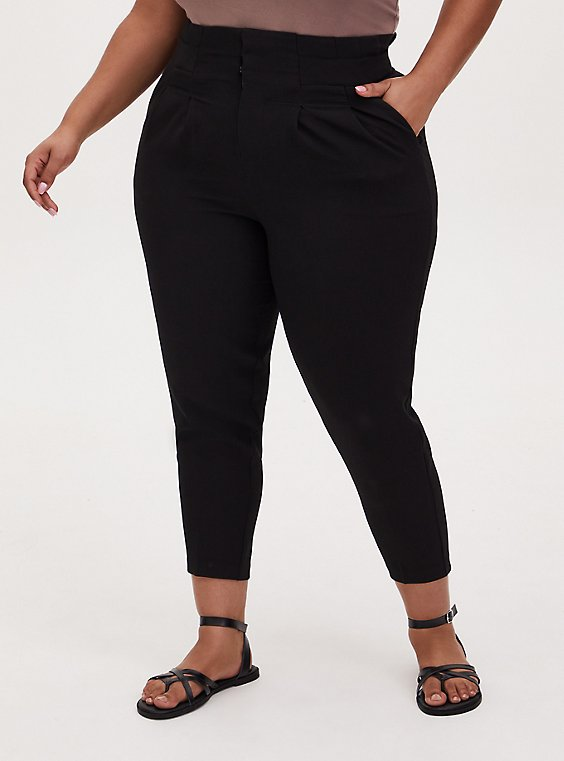 Black Structured Woven Paperbag Waist Straight Leg Pant , , hi-res