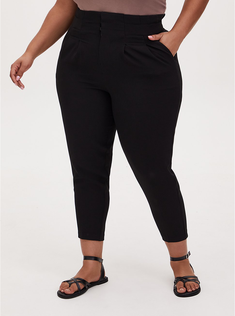 Black Structured Woven Paperbag Waist Straight Leg Pant , DEEP BLACK, hi-res