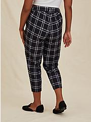 Black Windowpane Crepe Self Tie Tapered Pant, SPACE OUT PLAID, alternate