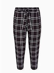 Black Windowpane Crepe Self Tie Tapered Pant, SPACE OUT PLAID, hi-res