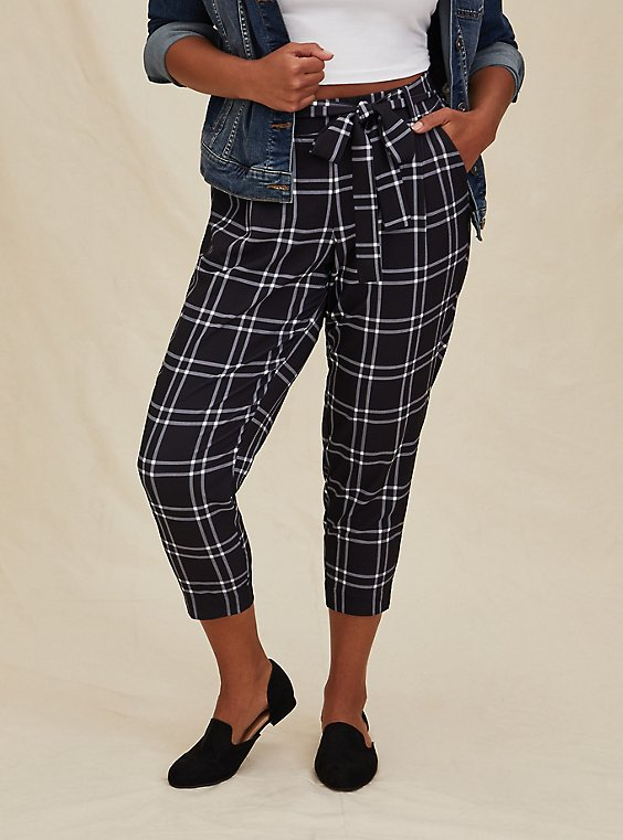 Black Windowpane Crepe Self Tie Tapered Pant, , hi-res