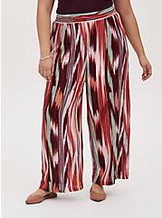 Multi Ikat Stripe Crinkle Gauze Wide Leg Pant, STRIPES, hi-res