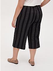 Black Pinstripe Linen Culotte Pant, STRIPES, alternate