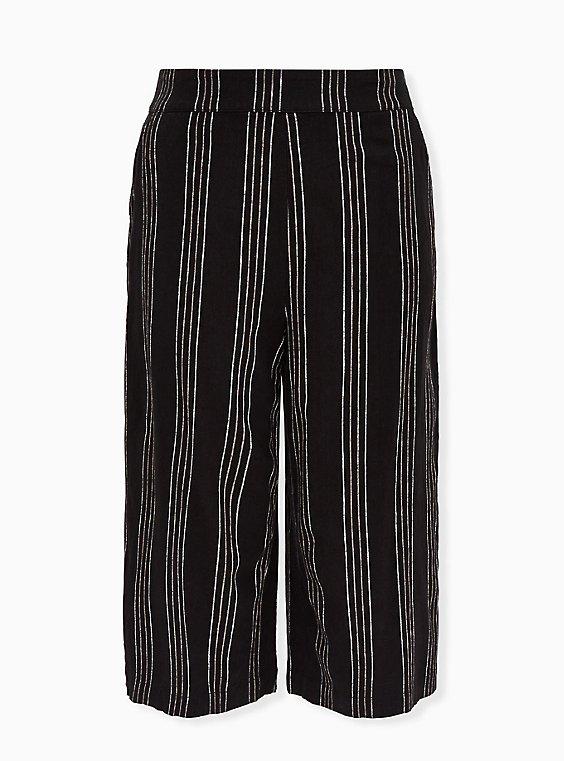 Black Pinstripe Linen Culotte Pant, , flat
