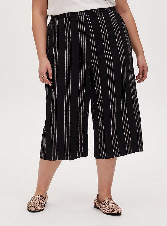 Black Pinstripe Linen Culotte Pant, STRIPES, hi-res