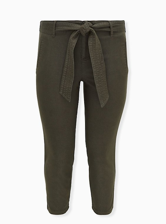 Crop Self Tie Utility Pant - Twill Olive Green, , flat