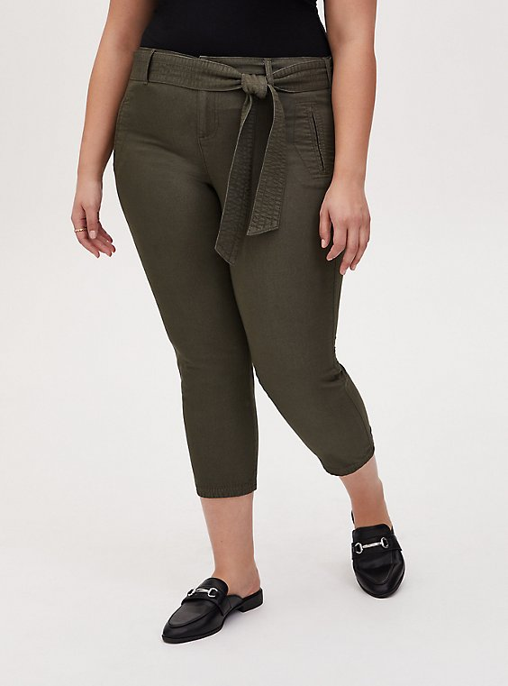 Crop Self Tie Utility Pant - Twill Olive Green, , hi-res