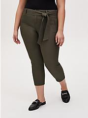Crop Self Tie Utility Pant - Twill Olive Green, DEEP DEPTHS, hi-res