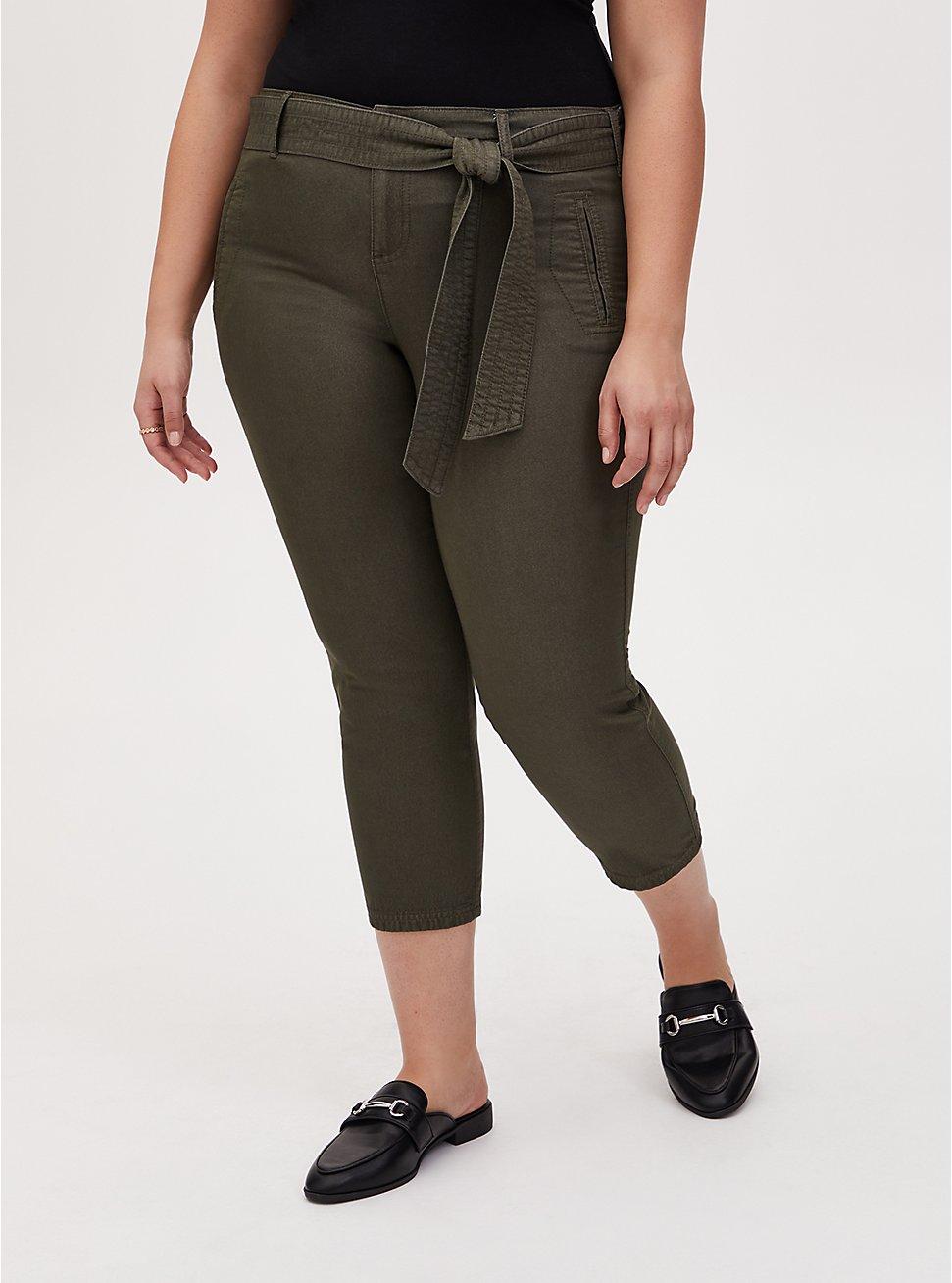 Crop Self Tie Utility Pant - Twill Olive Green, DEEP DEPTHS, hi-res