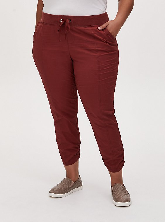 Plus Size Crop Pull-On Drawstring Pant - Poplin Brick Red, , hi-res
