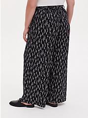Black Dotted Stripe Studio Knit Self Tie Wide Leg Pant, STRIPED DOTS, alternate