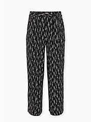 Black Dotted Stripe Studio Knit Self Tie Wide Leg Pant, STRIPED DOTS, hi-res
