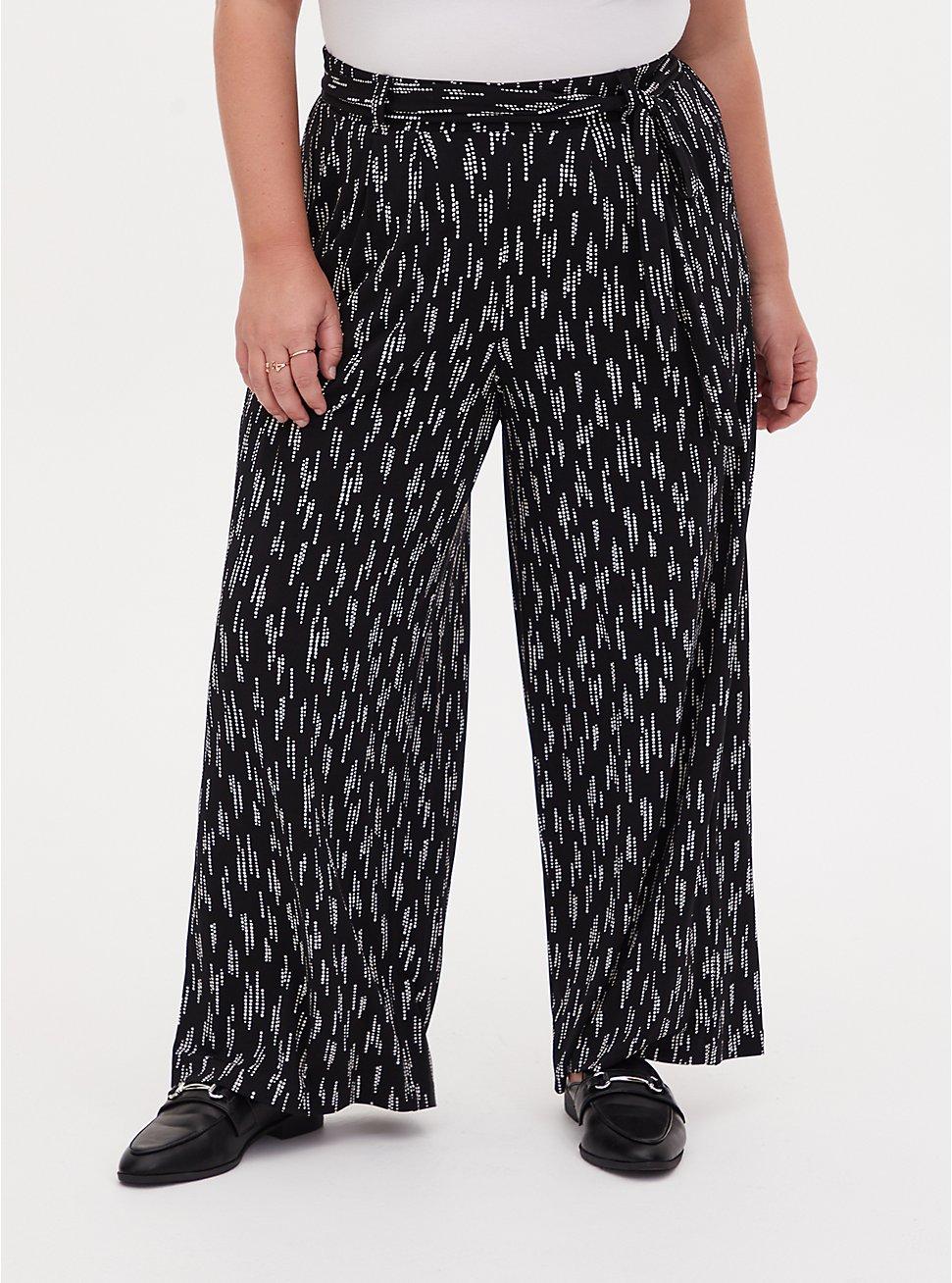 Black Dotted Stripe Studio Knit Self Tie Wide Leg Pant, STRIPED DOTS, hi-res