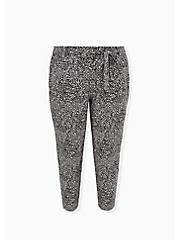 Black & White Leaf Crepe Self Tie Tapered Pant, OTHER PRINTS, hi-res
