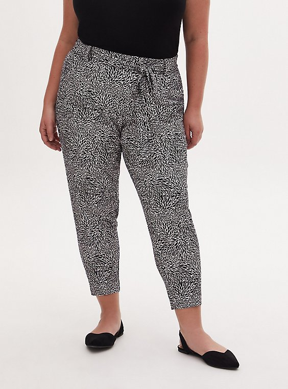 Black & White Leaf Crepe Self Tie Tapered Pant, , hi-res