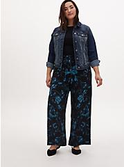 Black Floral Studio Knit Self Tie Wide Leg Pant, FLORAL, alternate