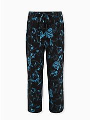 Black Floral Studio Knit Self Tie Wide Leg Pant, FLORAL, hi-res