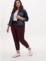 Burgundy Purple Crepe Paperbag Waist Tapered Pant, WINETASTING, alternate