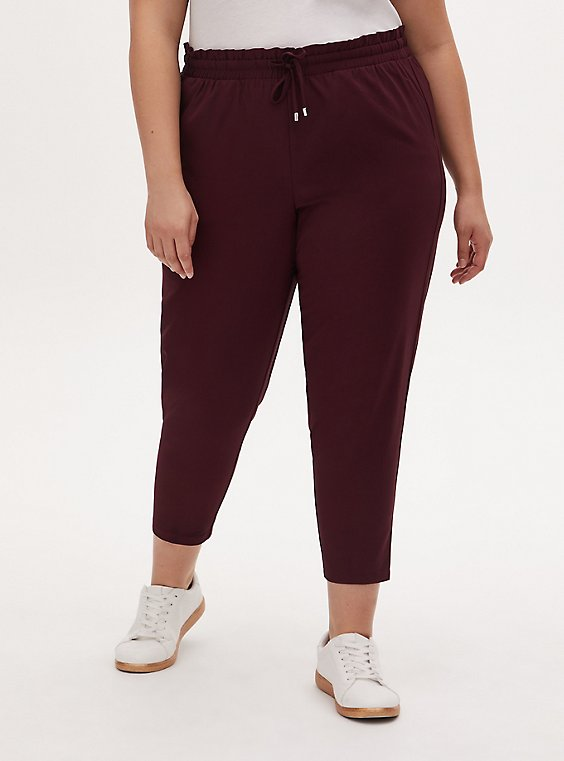 Burgundy Purple Crepe Paperbag Waist Tapered Pant, , hi-res
