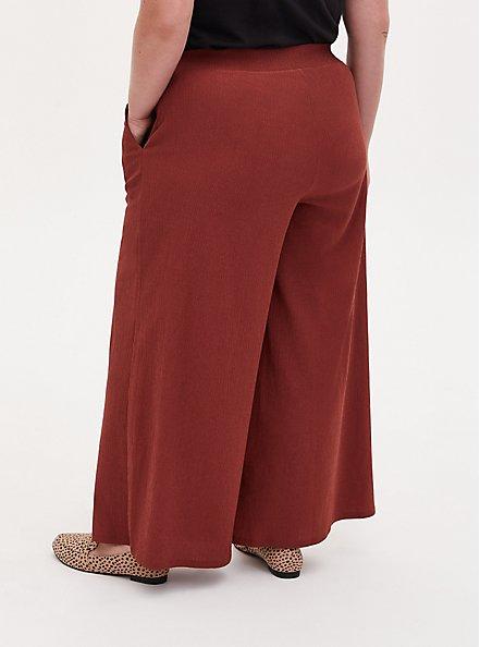 Brick Red Textured Rib Pull-On Wide Leg Pant, BURNT BRICK, alternate