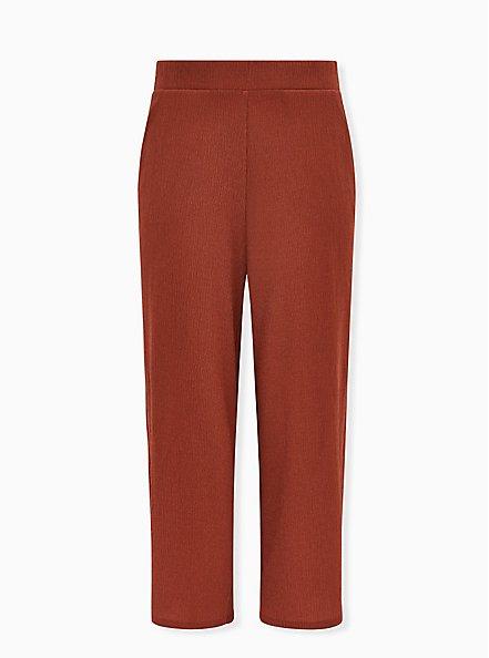 Brick Red Textured Rib Pull-On Wide Leg Pant, BURNT BRICK, hi-res
