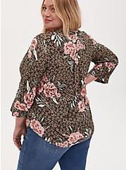Harper - Olive Green Floral Challis Pullover Blouse, FLORAL - OLIVE, alternate