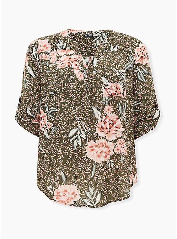 Harper - Olive Green Floral Challis Pullover Blouse, FLORAL - OLIVE, ls