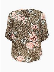 Harper - Olive Green Floral Challis Pullover Blouse, FLORAL - OLIVE, hi-res
