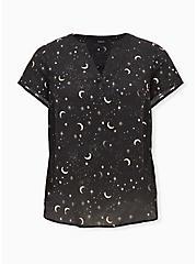 Black Cosmos Georgette Hi-Lo Blouse , STARS - BLACK, hi-res