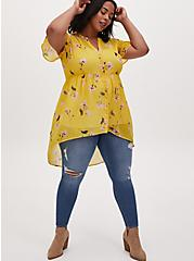 Lexie - Yellow Floral Chiffon Hi-Lo Babydoll Tunic, FLORAL - YELLOW, alternate