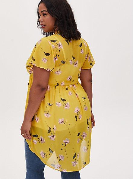 Lexie - Yellow Floral Chiffon Hi-Lo Babydoll Tunic, FLORAL - YELLOW, alternate