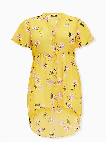 Lexie - Yellow Floral Chiffon Hi-Lo Babydoll Tunic, FLORAL - YELLOW, hi-res