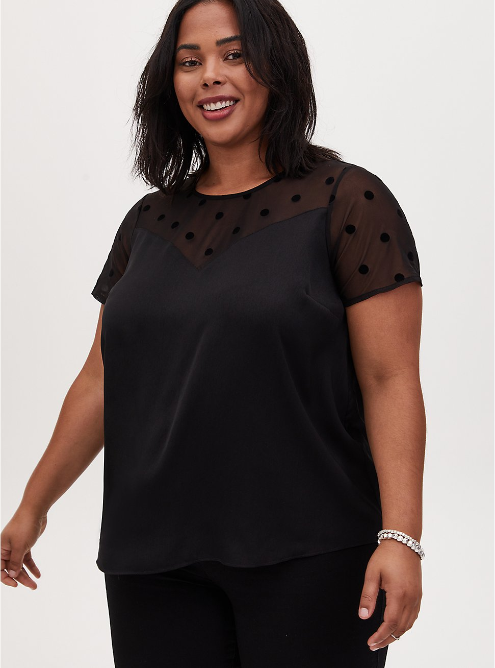 Black Dotted Mesh & Charmeuse Top, DEEP BLACK, hi-res