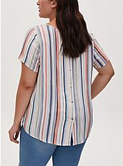 Abbey - Multi Stripe Gauze Button Back Blouse, STRIPE - WHITE, alternate